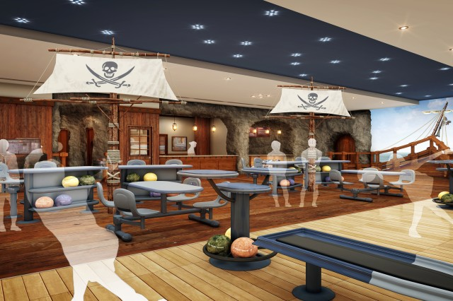 "An artist's rendering depicts the interior of the Camp Casey bowling center once a major renovation revamps it with a pirate-themed design. Design elements will mimic features of a pirate ship, including deck, masts, and staff in pirate-themed clothing. The aim is to make the center a place not only for Soldiers and hardcore bowlers but for families with youngsters. "" Artist's rendering courtesy of U.S. Army Garrison Red Cloud and Area I Directorate of Public Works"