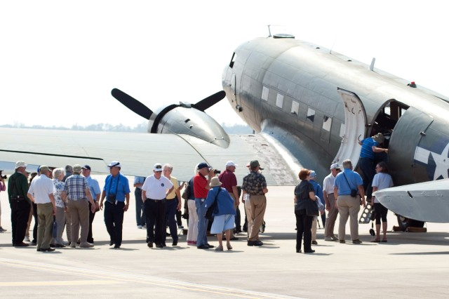 More than 100 veterans, wives and Family members  attended the  70th Reunion for the 317th Troop Carrier Group, a unit activated in 1942 during World War II. Attendees take a close up look at the  World War II C-47 Transport aircraft Friday.