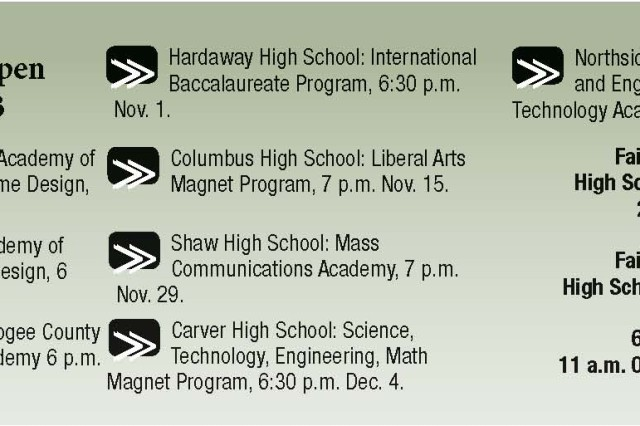 """Fort Benning students have two options for high school """" attend a neighborhood school or apply to a magnet school."""