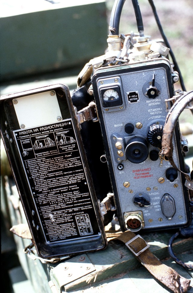 Soviet communications equipment seized by US military personnel.