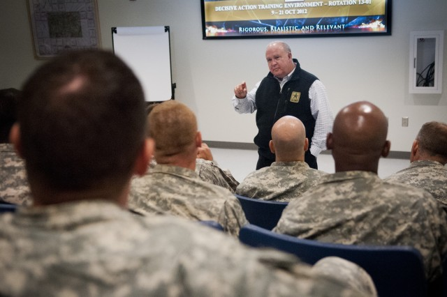 Under Secretary of the Army Joseph W. Westphal talks with senior leaders at the Joint Readiness Training Center (JRTC) about how to most effectively train Soldiers for the future, 18 October 2012, Fort Polk, La.  The purpose of Dr. Westphal's visit to the JRTC was to underscore the extensive capabilities and interdependence of combined operations between Army Conventional and Special Operations Forces as well as to highlight the vital role of the JRTC as the Army trains Soldiers for current missions and prepares for future requirements. (U.S. Army photo by Staff Sgt. Bernardo Fuller)
