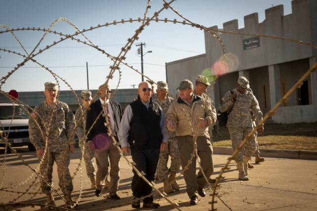 Under Secretary of the Army Joseph W. Westphal tours a training site at the Joint Readiness Training Center (JRTC), 19 October 2012, Fort Polk, La.  The purpose of Dr. Westphal's visit to the JRTC was to underscore the extensive capabilities and interdependence of combined operations between Army Conventional and Special Operations Forces as well as to highlight the vital role of the JRTC as the Army trains Soldiers for current missions and prepares for future requirements. (U.S. Army photo by Staff Sgt. Bernardo Fuller)
