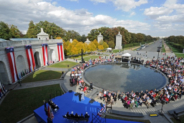Hundreds of women veterans and guests attend the 15th anniversary of the dedication of the Women in Military Service for America Memorial at Arlington National Cemetery, Va., Oct. 20, 2012.