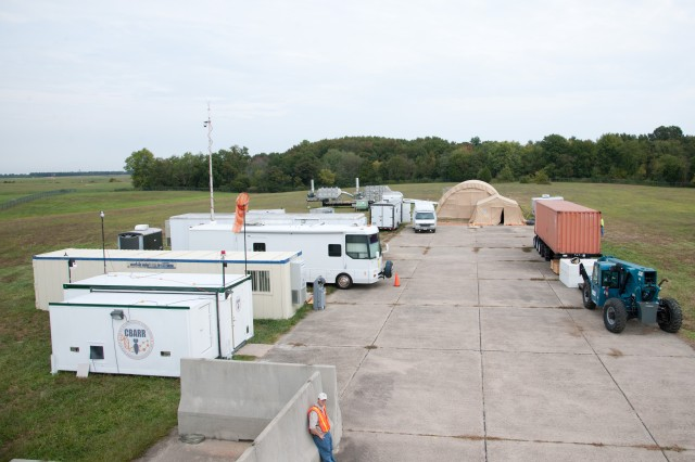 An aerial shot of the operations camp for the chemical remediation effort at Dover Air Force Base.
