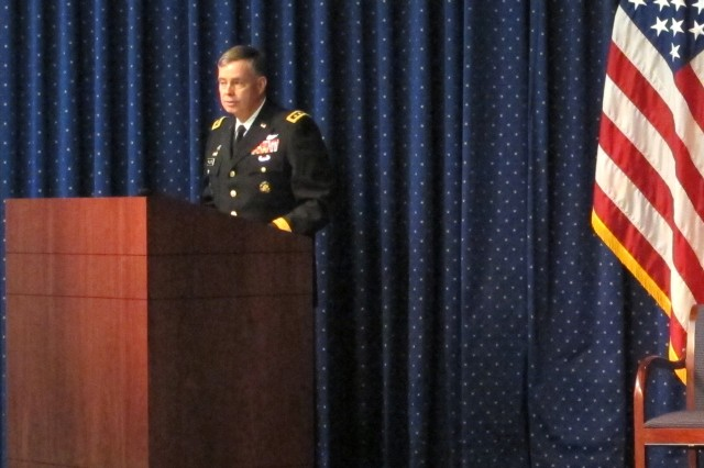 Lt. Gen. Bill Phillips, the principal military deputy, Office of the Assistant Secretary of the Army for Acquisition Logistics and Technology, speaks at the American Helicopter Society Dinner, Oct. 17, 2012, in Washington, D.C.