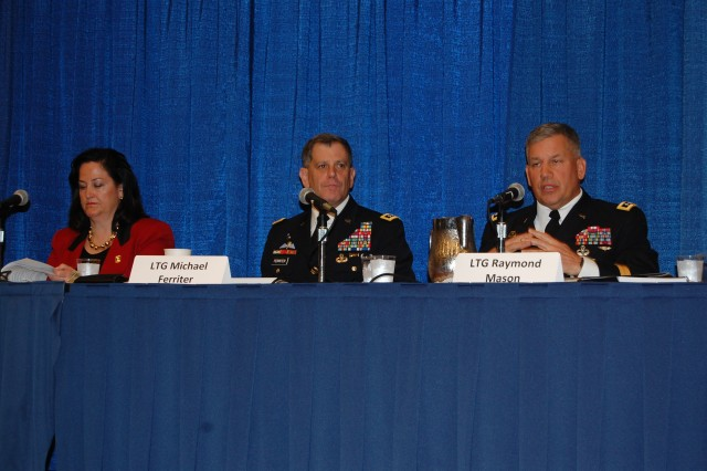 Speaking at the Association of the U.S. Army Energy Solutions Panel in Washington, D.C., Oct. 23, 2012, are Katherine Hammack, Lt. Gen. Michael Ferriter, and Lt. Gen. Raymond V. Mason, deputy chief of staff of logistics, G-4.