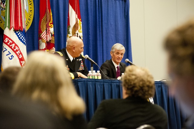 Secretary of the Army John M. McHugh and Army Chief of Staff Gen. Raymond T. Odierno speak during the 2012 Association of the United States Army Annual Meeting and Exposition press conference in Washington, D.C., Oct. 22, 2012. (Army photo by Spc. John G. Martinez)