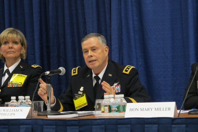Lt. Gen. William N. Phillips, principal military deputy to ASA(ALT), speaks at the AUSA Modernization Panel during the 2012 Association of the Unites States Army Annual Meeting and Exposition, Oct. 23, 2012, in Washington, D.C.