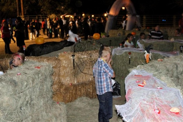 Young and older youth enjoyed finding their way through the hay maze during Friday and Saturday's haunted house and hayride event sponsored by Fort Huachuca's Directorate of Family and Morale, Welfare and Recreation.