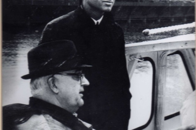 Stan Spisiak (hat and glasses) takes then New York State Senator Robert F. Kennedy for a tour of the Buffalo River (Photo courtesy Jill Spisiak-Jedlicka)