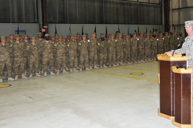 """Col. (P) Walter E. Piatt, 10th Mountain Division (LI) commanding general """" support, welcomes home Soldiers assigned to 7th Engineer Battalion during a redeployment ceremony Monday at Wheeler-Sack Army Airfield. The battalion returned from Afghanistan after a yearlong deployment in support of Operation Enduring Freedom."""