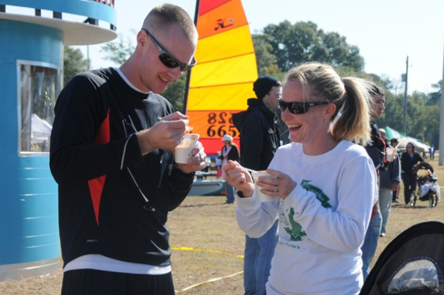 """Paul and Sarah Stirling sample the """"Knights of the Round Chili Pot"""" chili during last year's Chili 5K and Cook-off. This year's event, along with Military Family Recognition event, is Nov. 3 at the festival fields."""