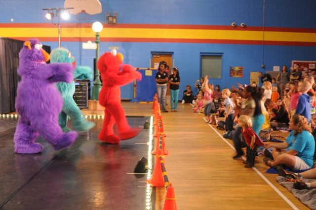 Sesame Street Experience performs Oct. 19 at the youth center gym to a crowd of about 500 people.