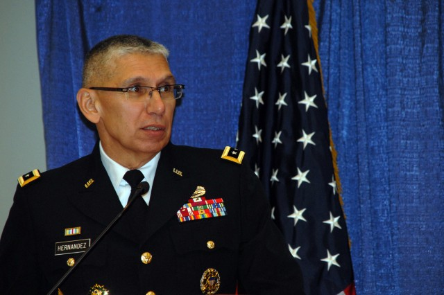 Lt. Gen. Rhett A. Hernandez, commanding general for the Army Cyber Command, discusses the Army's transformation to a joint-information environment during a Cyber and LandWarNet panel at the Association of the United States Army Annual Meeting and Exposition, Oct. 23, 2012, in Washington, D.C.