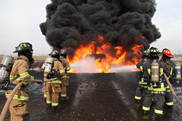 Camp Humphreys firefighters 'turn up the heat' with live fire training in Korea