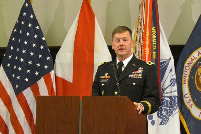 Maj. Gen. Lynn Collyar, Redstone Arsenal's senior commander, represents the Army and Redstone Arsenal with his comments on the 50th anniversary of Cummings Research Park during an anniversary luncheon Oct. 15 at the Jackson Conference Center.