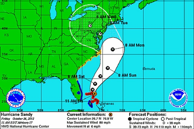 A National Hurricane Center graphic depicting half of Hurricane Sandy.