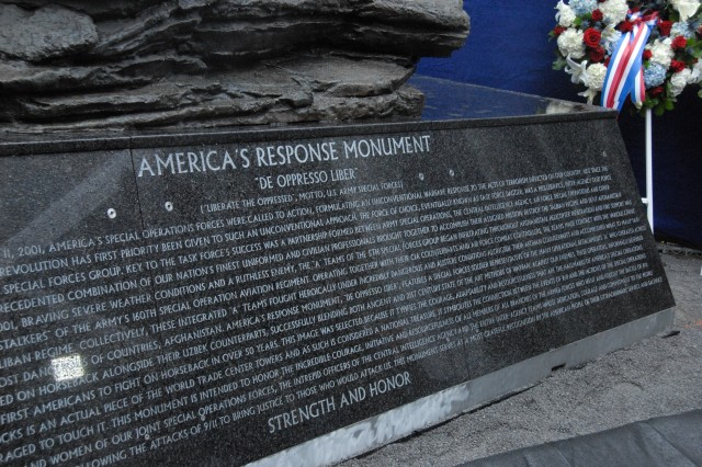 A rededication ceremony was held at Ground Zero for the Horse Soldier Statue, now known as the America's Response Monument - honoring all those who served to protect and defend our great nation from the attacks of 9/11.