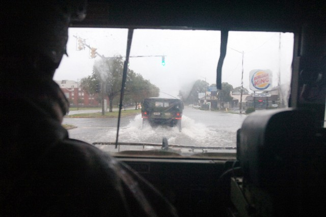 Virginia National Guard Soldiers from G Company, 429th Brigade Support Battalion, 116th Infantry Brigade Combat Team, conduct reconnaissance patrols in support of Hurricane Sandy operations, Oct. 29, 2012, in Norfolk, Va.