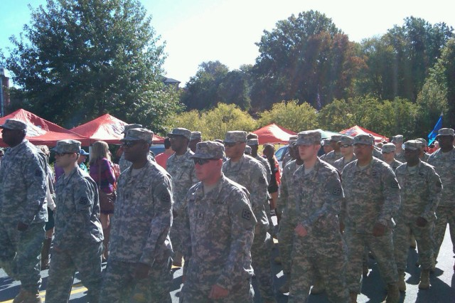 CLEMSON, S.C.-Soldiers of 391st Engineer Battalion, 926th Engineer Brigade, 412th Theater Engineer Command, marched in the Military Appreciation Day parade and were honored for their service during halftime of the Virginia Tech- Clemson University football game held here, Oct. 20.  Lt. Col. Todd Liebig, commander of 391st, and 30 senior leaders from his battalion utilized opportunity to not only energize internal teambuilding and Leadership Development Program, but to also strengthen cadet recruiting  with the Fightin' Tiger Battalion to fill critical Lieutenant shortage across the command.