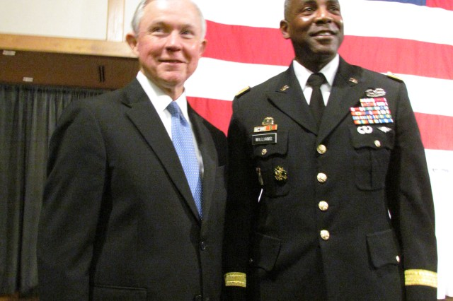 Sen. Jeff Sessions spends a few moments with Brig. Gen. Darrell Williams, Army Materiel Command chief of staff, after his speech to members of the Huntsville/Madison County Chamber of Commerce during a Washington Update luncheon Oct. 24. Sessions is proud of the infrastructure investment that the U.S. taxpayers have made to grow Redstone Arsenal and its missions.