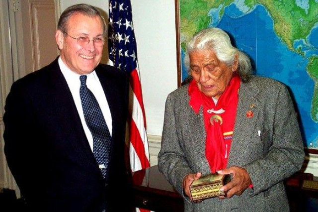 When Charles Chibitty, the last surviving World War II Comanche code-talker, visited Secretary of Defense Donald Rumsfeld at the Pentagon, the secretary presented him a momento of a small engraved box.