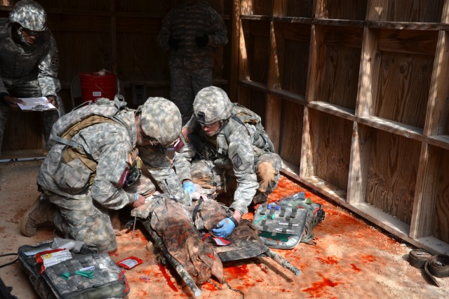 Sgt. Ryan Savoy and Spc. Caleb Rhodes, representing the 10th Mountain Division, Fort Drum, N.Y., perform combat casualty care during the Command Sgt. Maj. Jack L. Clark Jr. U.S. Army Best Medic Competition Oct. 26 to 28 at Joint Base San Antonio-Camp Bullis.