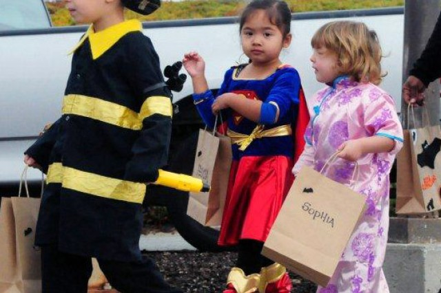 "PRESIDIO OF MONTEREY, Calif. - Children at the Monterey Road Child Development Center go ""trunk or treating"" Oct. 31. This is the first year parents have been invited to decorate their trunks and pass out non-candy items to the children."