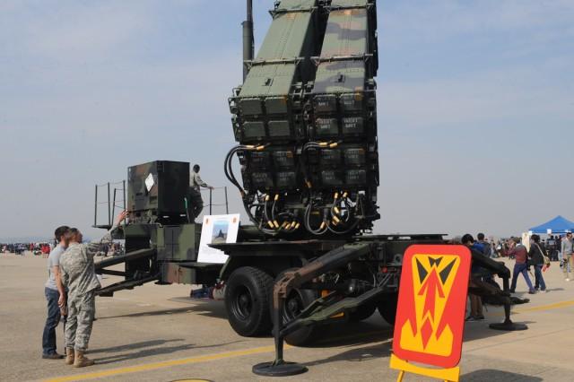 The 6-52nd Air Defense Artillery Battalion set up a Patriot static display during the Osan Air Power Day at Osan Air Base, South Korea.