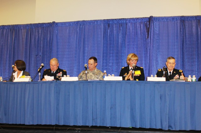 """Top Army leaders prepare to speak at the 2012 Association of the U.S. Army's Institute of Land Warfare panel titled, """"Thinking Past Tomorrow: Where is Army Modernization Going?"""" Panel participants engaged in dialogue detailing where the Army is heading and answer several questions from the audience regarding the Army's plans to execute changes, Oct. 23, 2012."""