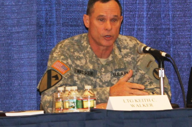 "Lt. Gen. Keith Walker, deputy commanding general of Futures and director of U.S. Army Training and Doctrine Command's Army Capabilities Integration Center, addresses the Institute of Land Warfare Panel audience at the 2012 Association of the United States Army Annual Meeting and Exposition, Oct. 23, 2012. Walker discussed ""looking deep"" and into the future, as far out as the year 2030, so the Army can mitigate future security and technology challenges."