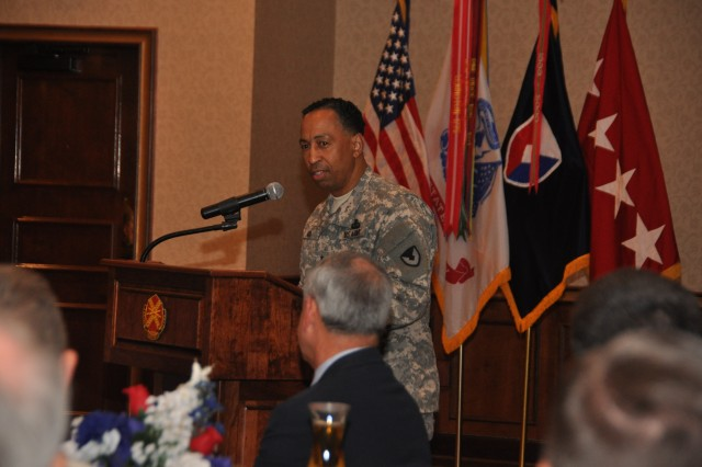 """Gen. Dennis L. Via, AMC's commanding general, presents the current state of AMC during the Redstone-Huntsville Chapter of the Association of the U.S. Army's """"Breakfast with the Boss"""" program at the Summit on Redstone Arsenal, Ala., Friday, Nov. 2. U.S. Army Photo by: Cherish Washington, AMC Public Affairs."""