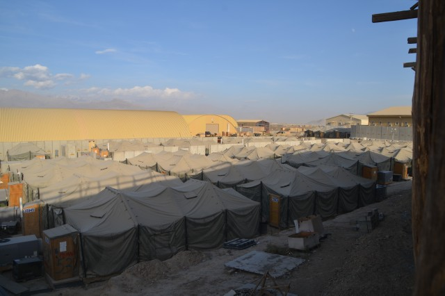 Shown are some of the tent housing at 401st AFSB Bagram. The goal is to move everyone out of tents into hardened structures to improve the brigade's force protection posture.