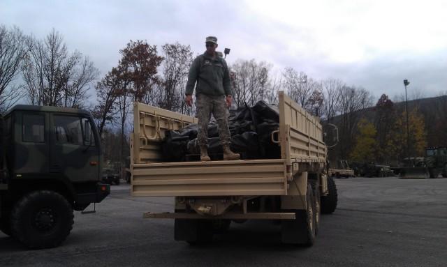 Soldier prepares to support Hurricane Sandy relief efforts