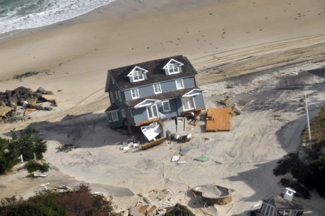 Damage on the Jersey Shore seen during a visit by Gen. Frank Grass, the chief of the National Guard Bureau; Air Force Chief Master Sgt. Denise Jelinski-Hall and other National Guard senior leaders to areas impacted by Hurricane Sandy in New Jersey and New York and to Guard members supporting recovery operations, Nov. 2, 2012.
