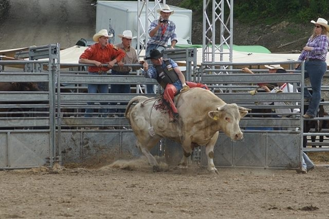 Spc. Christopher Lewis, a USAG Schweinfurt MP with the garrison's Headquarters and Headquarters Company, steadies himself on a bucking bull during a European rodeo. Lewis is the president of the European Rodeo Cowboy Association.