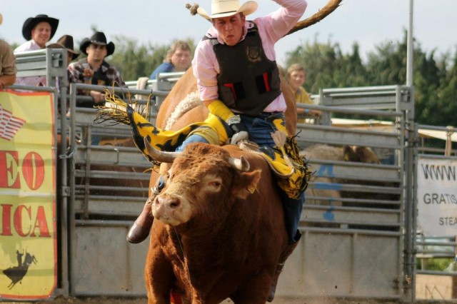 A bull rider does his best to hang on during a rodeo, Oct. 25.