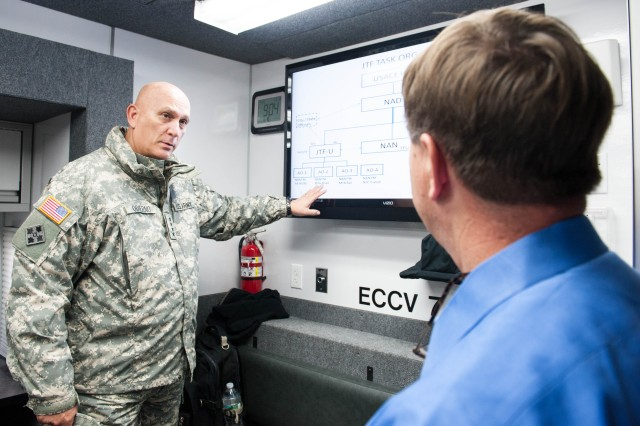 U.S. Army Chief of Staff Gen. Raymond T. Odierno visits with the U.S. Army Corps of Engineers North Atlantic Division, the NY National Guard and the Office of Emergency Management (OEM) who are providing relief to the areas devastated by Hurricane Sandy in New York, NY. November 02, 2012. Gen. Odierno also took the time to observe the damages within the city as well as along the New York and New Jersey Coastline. (U.S. Army photo by Staff Sgt. Steve Cortez/ Released)