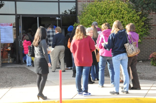 Voters line up outside a polling station in Prince William County, Va., considered a swing county in a swing state for the 2012 presidential election. A lot of Soldiers and other service members and their families live in Prince William and surrounding counties.