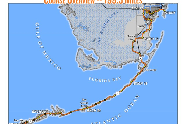 Map of the 200-mile run from Miami to Key West, Fla., that team Wounded Warrior Outdoors will be participating in on Jan. 4, 2013.
