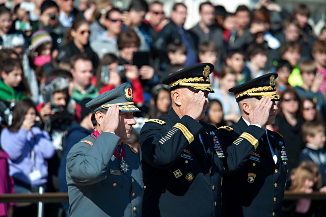 Chilean Gen. Juan Miguel Fuente-Alba Poblete, Commander in Chief of the Chilean Army, Army Chief of Staff Gen.. Raymond T. Odierno and Maj. Gen. Michael Linnington salute during a wreath laying ceremony at the tomb of the Unknown Soldier in Arlington National Cemetery, Va. Nov. 6, 2012. (U.S. Army Photo by Staff Sgt. Teddy Wade/Released)