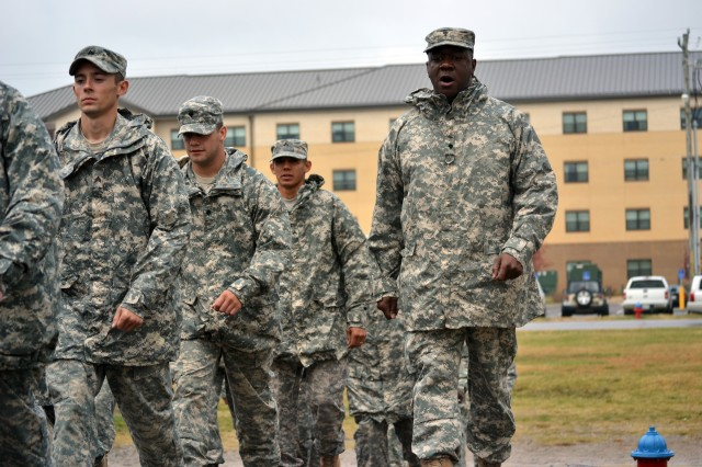 Spc. Tariq Muhammad, a fueler with Company A, 563rd Aviation Support Battalion, 159th Combat Aviation Brigade, keeps troops in step during the Warrior Leader Course at the Staff Sgt. John W. Kreckel NCO Academy at Fort Campbell, Ky., Oct. 7. Numerous Soldiers of the 159th CAB have graduated on the Commandant's List in the last four consecutive classes. (U.S. Army photo by Spc. Jennifer Andersson/RELEASED)