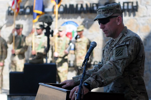 """Regional Command (South) and Third Infantry Division commanding general, Maj. Gen. Robert """"Abe"""" Abrams, speaks to a gathering of service members and civilians during a Veterans Day ceremony held at RC(S) Headquarters' Marne Garden (Forward) on Kandahar Airfield, Afghanistan, Nov. 11, 2012. Service members and civilians gathered for the Veterans Day ceremony to honor veterans of the past, present and future."""