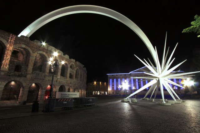 A giant star sculpture at the Verona Roman arena marks the holiday season in Piazza Bra, the location of the Santa Lucia market in Verona.