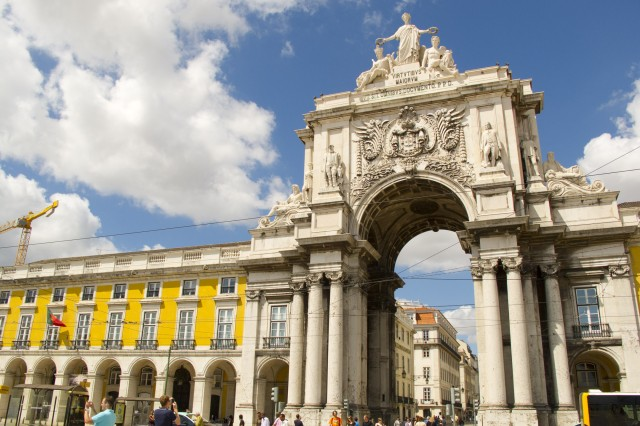 A statue of King Jose I peers over the Praca Do Comercio (Trade Square) inviting visitors into the charming Baixa neighborhood.