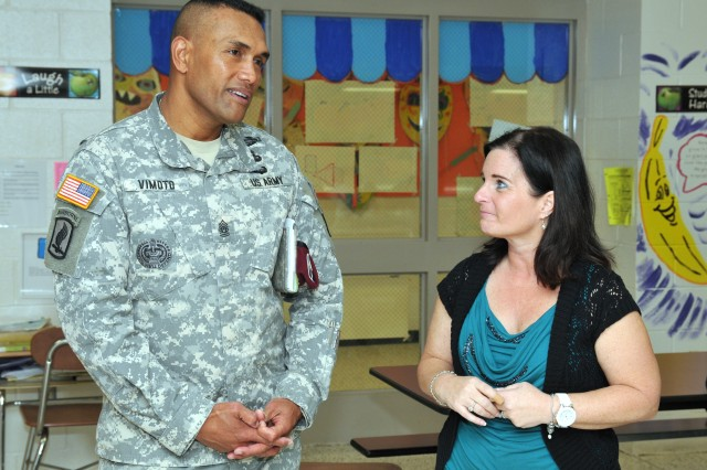 XVIII Abn. Corps CSM visits William T. Brown Elementary School