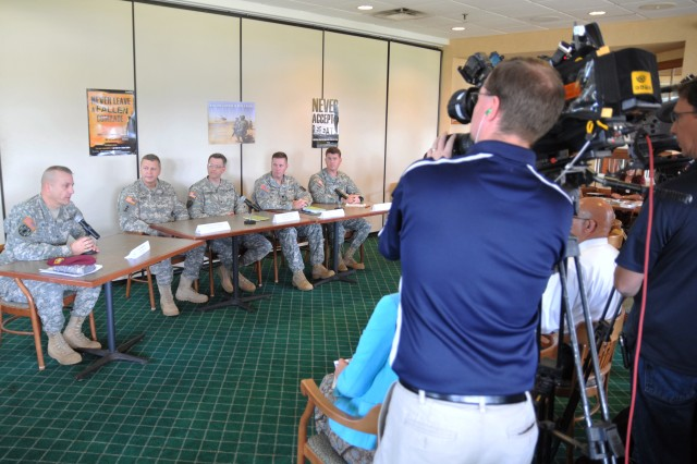 Six representatives from across the Fort Bragg installation held a media roundtable discussing suicide prevention Sept. 20th at Stryker Golf Course. Roundtable discussion members included Col. Chad McRee, 16th Military Police Brigade commander and Fort Bragg suicide prevention program manager; Chaplain (Col.) Ran Dolinger, the Fort Bragg Garrison Chaplain; Col. Jay E. Earles, Womack Army Medical Center's Chief of Behavioral Health; Lt. Col. Michael Baumeister, 82nd Sustainment Brigade deputy commander; Master Sgt. Eric W. Brooks, the non-commissioned officer in charger of G-3 Training of United States Army Special Operations Command and Applied Suicide Intervention Skills Training Trainer; and Whitney Brenner, the Fort Bragg Health Promotion Officer. (Photo by Spc. Paul A. Holston/XVIII Abn. Corps PAO)