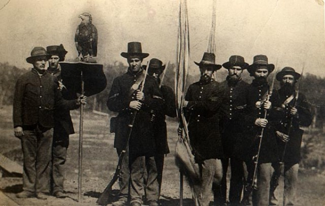 Old Abe and the 8th WVI Color Guard 1863