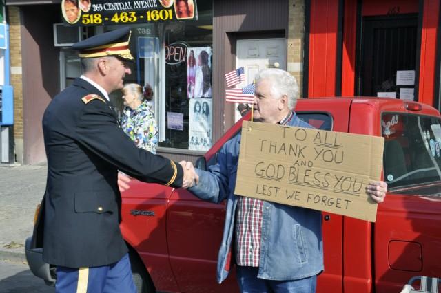 Arsenal Commander Col. Mark F. Migaleddi breaks ranks to thank someone who is thanking Veterans.