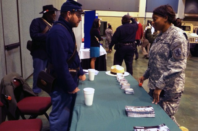 VICKSBURG, Miss.- Spc. Bailey and Soldiers of 412th Theater Engineer Command were out in full force to honor veterans of past and current wars, and to share their 'Soldier for Life' story with members of the Vicksburg community, during Veterans Day celebration here Nov. 12.